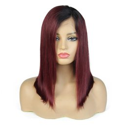 Human Hair wig color 1b 99j online shopping - 13x6 Bob Wig B J Ombre Straight Brazilian Lace Front Human Hair Wig Pre Plucked Short Full Lace Wig for Black Women