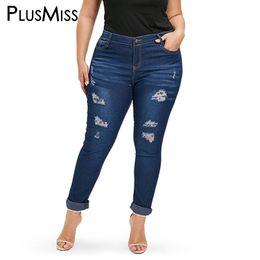 7a7fe3a8766 PlusMiss Plus Size 3XL XXXL XXL High Waist Sexy Skinny Ripped Jeans Women  Large Size Hole Distressed Tight Denim Pants Female