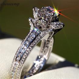 $enCountryForm.capitalKeyWord NZ - vecalon Elegant Flower shape Promise Ring 925 Sterling Silver Diamond Engagement Wedding Band Rings For Women Bridal Jewelry