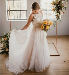 $enCountryForm.capitalKeyWord Australia - Country Style Backless Wedding Dresses 2019 Halter Lace Top Tulle A Line Bridal Dresses Wedding Gowns Sweep Train