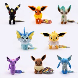 Soft blue doll online shopping - 8 inch Pokemons Standing Eevee family Plush toys Soft stuffed cute Grab machine Doll For Children birthday best gift lol high quality