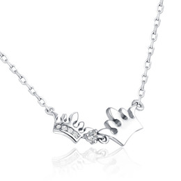 queens crown pendant Australia - Necklaces Pendants 0.03ct Diamond Queen Crown Pendant Anniversary 925 Sterling-Silver-Jewelry Customized Gift Box for Charm women