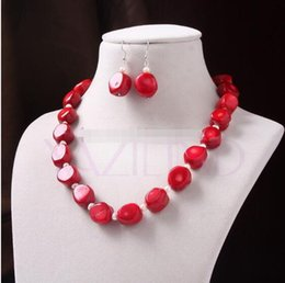 $enCountryForm.capitalKeyWord Australia - Jewelryr Pearl Set natural red coral 17.5 inch 5mm pearl bead earrings necklace jewelry set Free Shipping
