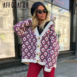 $enCountryForm.capitalKeyWord Australia - Affogatoo Heart Print Knitted Cardigan Women Single Breasted Female Sweater Cardigan Autumn Winter Oversized Cardigan JumperMX190820