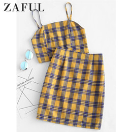 Women Two Piece Suit Vest Australia - ZAFUL Yellow Plaid Sexy Two Piece Set Smocked Back Crop Top And Mini Skirt Summer Outfits Bodycon Dress Suit Women Sets 2019 T5190610