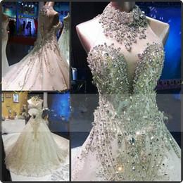 $enCountryForm.capitalKeyWord Australia - Luxurious Sparkly Wedding Dress High Neck Sleeveless Glitter Crystals Rhinestones Lace Appliques Big Train Illusion Back Bridal Gowns