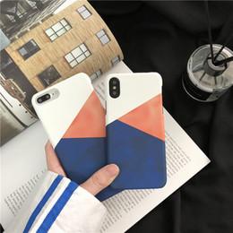 $enCountryForm.capitalKeyWord Australia - Korean color matching simple geometric iphone X mobile phone case for iPhone8 7plus half pack 6s matte hard shell female