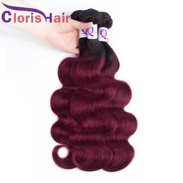 Discount brazilian body wave hair burgundy Great Texture Brazilian Virgin Burgundy Ombre Extensions Body Wave Human Hair 3 Bundles Cheap Dark Roots 1B Red Wavy Colored Weaves Deals