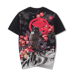 $enCountryForm.capitalKeyWord NZ - Cotton O-neck Tshirt Style Embroidered Carp Tattoo Japanese World Painting Loose Men's Short Sleeves 2018 New T Shirt Men Sale Y19050902