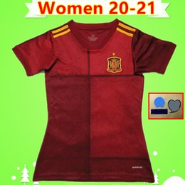 national soccer uniforms NZ - Women Soccer Jerseys Spain 2020 2021 ladies Football Shirts red home girls uniforms national team 20 21 RAMOS ISCO A.INIESTA