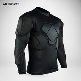 pad jacket Canada - 2018 Rugby Soccer jerseys Goalkeeper jacket survetement thickened Defend shirts EVA Padded Latex elbow knee pads helmet