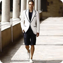 white wedding suits shorts NZ - Latest Designs White Men Suits Wedding Man Blazers Jacket Summer Casual Groom Tuxedos 2Piece(Coat+Short Pants) Slim Fit Terno Masculino
