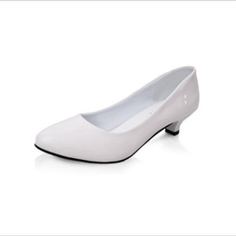 Low Heeled Platform Dress Shoes UK - 2019 Dress POADISFOO Women 's Spring And Summer Round White Casual Low Heeled Shoes Patent Leather Shoes For Women .LSS-805