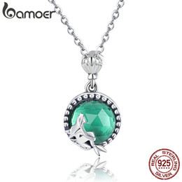 $enCountryForm.capitalKeyWord Australia - Bamoer Genuine 925 Sterling Silver Romantic Fairy Story Light Green Cz Pendant Necklaces Women Sterling Silver Jewelry Scn262 Y19061703
