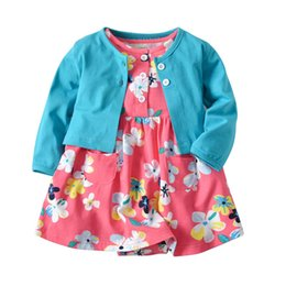 39f738db32c8 Baby Girl Clothes Cotton long sleeve coat+Girls Dresses Baby Rompers floral  Girls One Piece Clothing Newborn Romper Infant Jumpsuit A2676