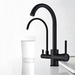 Single handle kitchen Sink faucetS online shopping - Black Purify Kitchen Mixer Tap Deck Mounted Dual Handle Purification Kitchen Sink Faucet Swivel Spout Water Tap for Kitchen