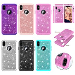 Iphone Diamond Back Australia - Diamond Sparkle Shining Glitter Cover for iPhone X XR XS MAX Hybrid Bling Back Case For iPhone 7 8Plus 6 6sPlus Dual Layer Cover