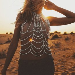 choker bikini NZ - BOHO Sexy Lady Silver BIkini Statement Body Chains Pearl Crystal Bra Harness Choker Necklace Party Belly Dance Dress Belt Waist