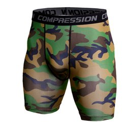 Gold Compression Shorts NZ - Mens Running Shorts Camouflage Bermuda Shorts Men Compression Fitness Tights Bodybuilding Short Leggings Gym Sportswear