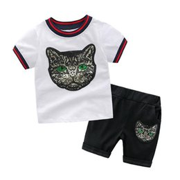 22c54a9b00 Free Shipping Style New Gashion Sequin Cartoon Cat Tops+Pants Outfits Kids  Casual Clothing Set Short Sleeve Children Suits Baby Boy Clothes