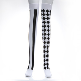 64eb12d30 Party Carnival Clown Playing cards Stockings Thigh High Stockings Sexy Girl  Plaid Japanese Lolita Harajuku Knee Socks