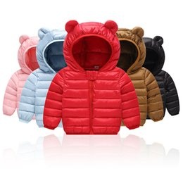 Cute brown bear online shopping - Baby Boys Girls Warm Coat Winter Cute Bear Ears Hooded Outwear Clothes Children Clothing Kids Outwear Outfits Baby Designer clothing M482