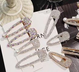 Diamond Crystal Hair Clips Australia - Fashion uper flash luxury temperament full diamond Crystal Pearl Elegant Women Barrettes Hair Clip Hairgrips Hair Accessories