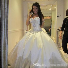 Tornai Dresses Australia - Ivory Bling Pnina Tornai Wedding Dress Sweetheart Ball Gowns Sparkly Crystal Backless Chapel Long Train Bridal Gowns Cheap Wed Dress