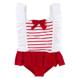 LittLe girLs one piece swimwear online shopping - Little Kids Girl One Piece Swimsuit Fold Sleeve Summer Beach Quick Drying Swimsuit Kids Designer Swimwear Bow Bathing Suit