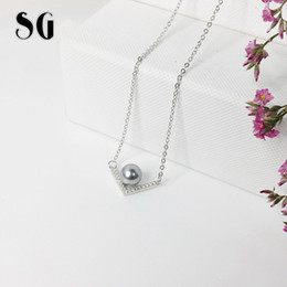 Sterling Silver Chains Women Australia - SG 2019 sterling silver 925 V type letter inlay pearl necklace fit fashion jewelry chain necklaces pendants for women gifts