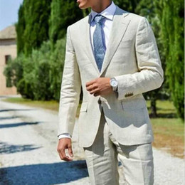 slim fit suits for prom Canada - Custom Made Ivory Linen Wedding Suits for Men Groom Tuxedos Prom Suits Latest Designs Terno Masculino Slim Fit Costume Homme Mariage 2Piece