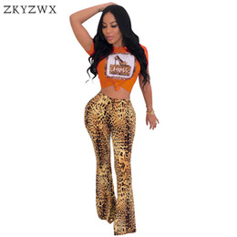 Discount leopard print rhinestones - ZKYZWX Leopard Print Sexy 2 Piece Set Summer Outfits Shiny Rhinestone Tops+Wide Leg Pants Suit Streetwear Womens Two Pie