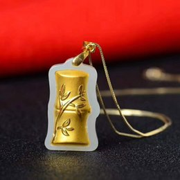 Jade Gold Pendants Australia - 100%24k Gold Inlaid Jade Bamboo Style Pendant Natural Hetian White Jade Moral Step By Step Up Men And Women Jade Pendant Jewelry Y19052301