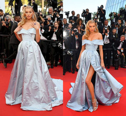 $enCountryForm.capitalKeyWord Australia - Canne Film Festival 2019 Light Sky Blue Celebrity Dresses Off The Shoulder Sexy Side Split Taffeta Formal Evening Red Carpet Dresses Custom