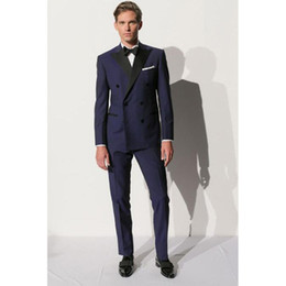 groomsmen tuxedos navy color UK - Custom Made Double Breasted Navy Blue Men Suit Bespoke Mens Wedding Suits Groomsmen Groom Tuxedos For Men (Jacket+Pants+Bow)