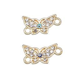 Wholesale 50pcs exquisite drop oil turkey eye butterfly best friend charm bracelet rhinestone jewelry ladies bracelet accessories DIY bracelet accesso