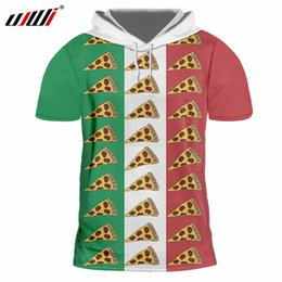 Discount pizza t shirts - UJWI Hooded Short Sleeve TShirts Male New White red green 3D Printing Pizza Hiphop Oversized Garment Unisex Thin Cap T S
