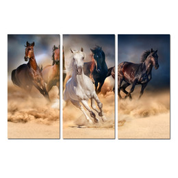 large paintings horses NZ - Large Contemporary Abstract Landscape Horse Painting Print Canvas Wall Art Home Decor 3 Pieces picture for Office Living room Bedroom Decor