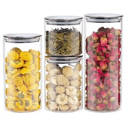 $enCountryForm.capitalKeyWord NZ - Glass Storage Containers with Metal Lids Transparent Kitchen Canisters Big and Small Airtight Jar for Pantry