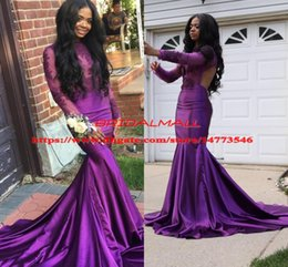 $enCountryForm.capitalKeyWord NZ - Appliqued Purple Satin Mermaid Prom Dresses 2019 Illusion Bodice Long Sleeves Formal Evening Dress Sexy Backless Pageant Dress Party Gowns