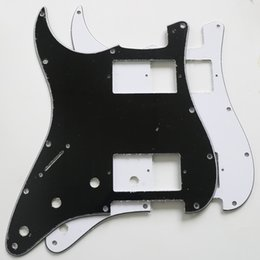 $enCountryForm.capitalKeyWord Australia - DIY electric guitar left hand HH pickup slot panel double guard plate front cover black and white three-layer with screws
