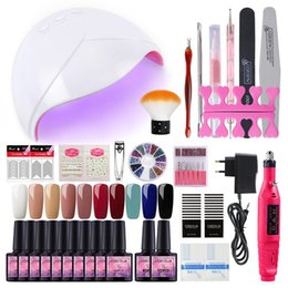 Lamp naiL art kit online shopping - Nail Set W UV LED Lamp Dryer With Colors Nail Gel Polish Kit Soak Off Manicure Set Gel Polish For Art Tools