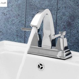 Sink two faucetS online shopping - Luxury Brass Bathroom Basin Faucet Double Handle Two Holes Water Tap Chrome Deck Mounted Hot and Cold Water Sink Mixer Tap