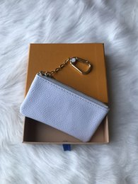 ClassiCal box online shopping - 2019 with Orange Box KEY POUCH Real leather holds famous classical designer women key holder coin purse small leather goods bag