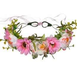 Chinese  100PCS Flower Crown Rose Wreaths Five Colors Manual Cane Aestheticism Hair Hoop Women Artificial Flowers Spring Beach Travel manufacturers