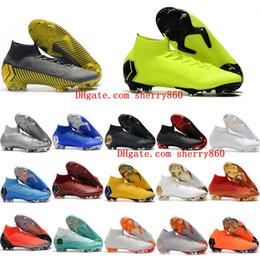 c3708664708f2 2018 botines de fútbol para hombre Mercurial Superfly KJ VI Élite Cristiano  Ronaldo Neymar FG zapatos de fútbol botas de fútbol cr7 scarpe calcio  Barato Ora