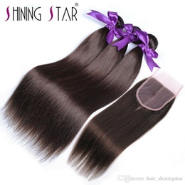 $enCountryForm.capitalKeyWord NZ - Brazilian Straight Hair Bundles With Closure Color 4 2018 Hot Selling Shining Star Fast Shipping Double Weft