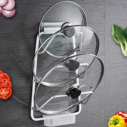 gold lids NZ - Punch-free Dual-use Kitchen Racks Pendant Multi-purpose Chopping Board Space Aluminum Lid Rack with Drain Tray Organizer