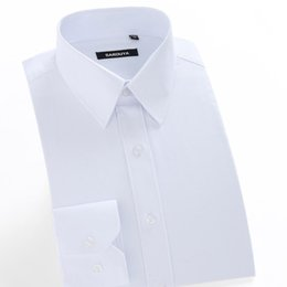 dress black top white work UK - Men's Regular-fit Coarse-twill Solid Basic Dress Shirt Formal Business Long Sleeve White Tops Shirts For Social Work Office Wear Y190506