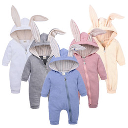 jumpsuits rabbit girl NZ - Fall Winter Baby Boy Girl Rabbit Romper Ins Christmas Newborn Big Ear Hooded Warm Jumpsuit Toddler Infant Kid Sleepsuit Overall Cloth